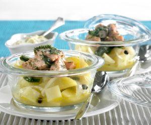 Lohi-perunapotti ja sinappinen kurkkunokare - Pro Kala